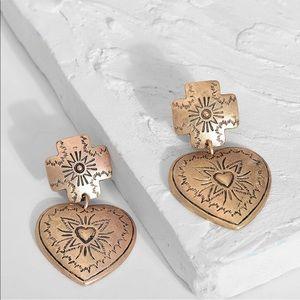 Aztec Heart Dangle Earrings